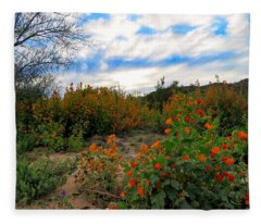 Fleece Blanket featuring the photograph Desert Wildflowers In The Valley by Judy Kennedy