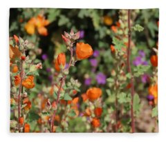 Fleece Blanket featuring the photograph Desert Wildflowers by Judy Kennedy