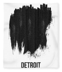 Detroit Skyline Brush Stroke Black Fleece Blanket