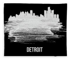 Detroit Skyline Brush Stroke White Fleece Blanket