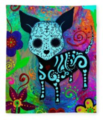 Dia De Los Muertos Chihuahua Love Fleece Blanket