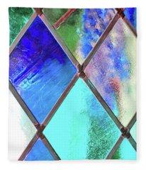 Diamond Pane Blue Fleece Blanket
