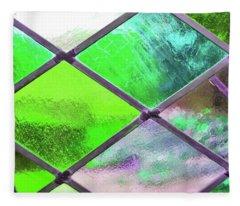 Diamond Pane Glass Green Fleece Blanket