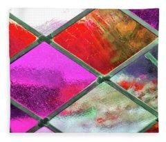 Diamond Pane Glass Red Fleece Blanket