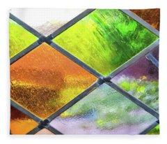 Diamond Pane Glass Yellow Fleece Blanket