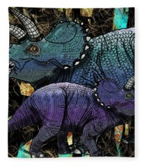 Dinosaur Triceratops And Calf Fleece Blanket