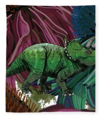 Dinosaur Triceratops Flowers Fleece Blanket