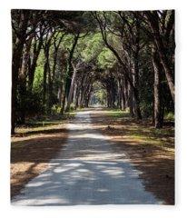 Dirt Pathway In A Mediterranean Pine Forest Fleece Blanket