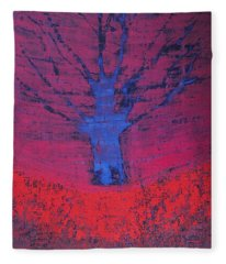 Disappearing Tree Original Painting Fleece Blanket