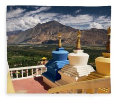 Fleece Blanket featuring the photograph Diskit Gompa by Whitney Goodey