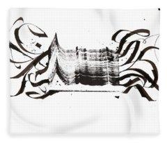 Disruption. White. Calligraphic Abstract Fleece Blanket
