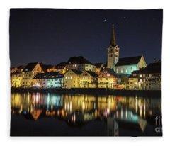 Dissenhofen On The Rhine River Fleece Blanket