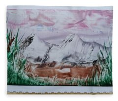 Distant Impressionistic Mountains Fleece Blanket