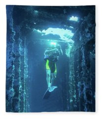 Diver In The Patris Shipwreck Fleece Blanket