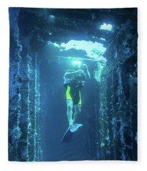 Diver In The  Fleece Blanket