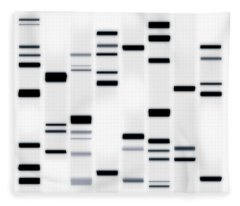 Dna Art Black On White Fleece Blanket