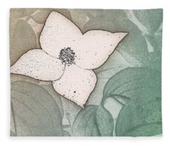Dogwood Flower Stencil On Sandstone Fleece Blanket