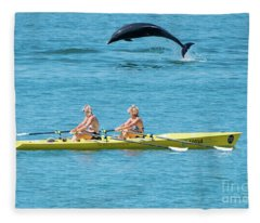 Dolphin Leaping Over Two Rowers Fleece Blanket