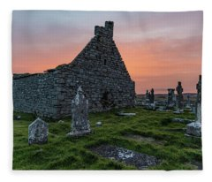 Doolin Ireland Graveyard At Sunrise Fleece Blanket