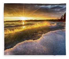 Door County Sunset Fleece Blanket
