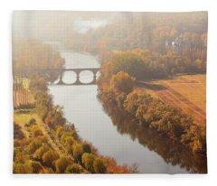Dordogne River In The Mist Fleece Blanket
