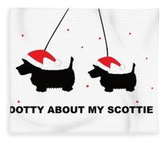 Dotty About My Scottie - Xmas Fleece Blanket