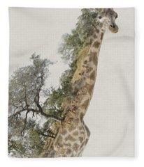 Double Exposure Giraffe Fleece Blanket