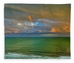 Double Rainbow Myrtle Beach Fleece Blanket
