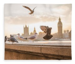 Doves And Seagulls Over The Thames In London Fleece Blanket
