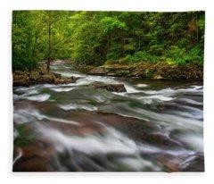 Down The Tellico River Fleece Blanket