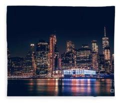 Downtown At Night Fleece Blanket