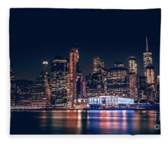 Downtown At Night Fleece Blanket