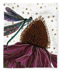 Dragon Fly And Echinacea Flower Fleece Blanket