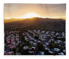 Dramatic South Mountain Sunset Fleece Blanket