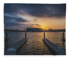 Dramatic Sunset At Marina Del Rey Fleece Blanket