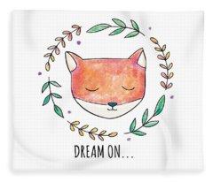Dream On - Boho Chic Ethnic Nursery Art Poster Print Fleece Blanket