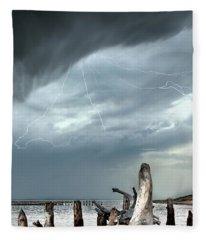 Driftwood Beach Whitefish Point Michigan Fleece Blanket