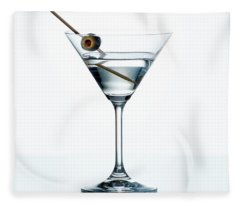 Dry Martini With Green Olive In Cocktail Glass Over White Backgr Fleece Blanket