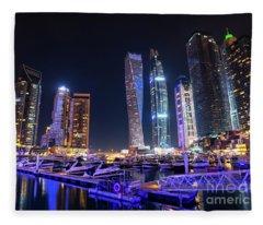 Dubai Marina At Night Fleece Blanket