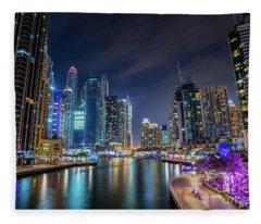 Dubai Marina Walk At Night Fleece Blanket