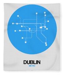 Dublin Blue Subway Map Fleece Blanket