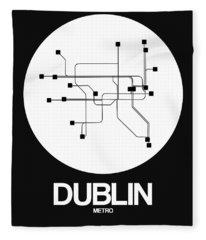 Dublin White Subway Map Fleece Blanket
