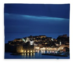 Dubrovnik Old Town At Night Fleece Blanket
