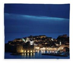 Dubrovnik Old Town At Night Fleece Blanket