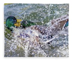 Duck Fight Fleece Blanket