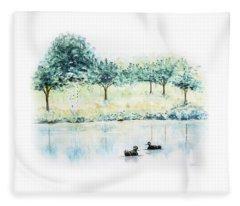Ducks On Lake Fleece Blanket