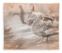 Ducks On Shore Da Vinci Fleece Blanket