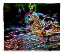 Ducks On Shore Wizard Fleece Blanket