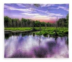 Dusk Falls Over New England Beaver Pond. Fleece Blanket