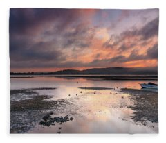 Dusky Pink Sunrise Bay Waterscape Fleece Blanket